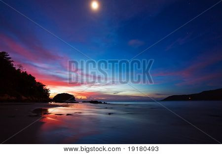 Night with moon above the tropcal beach