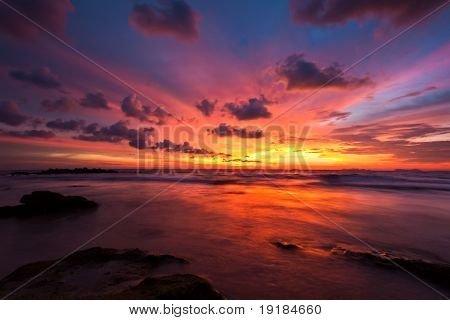 Tropical sunset on the beach. Koh Lanta island. Thailand