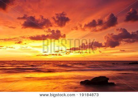 Beautiful sunset at tropical beach. Lanta island. Thailand
