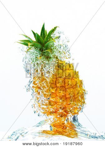 Fresh Pineapple splash in water