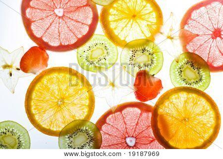 slices citrus on white background