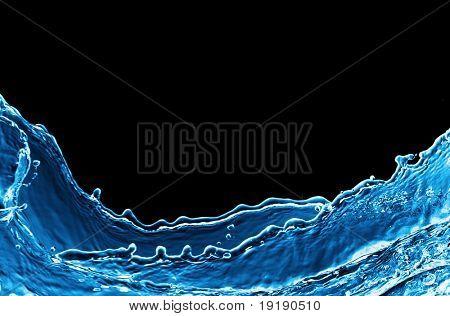 Photo of water splash isolated on black