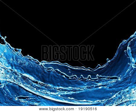 Photo of water splash isolated on black