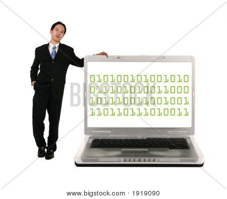 Leaning On Laptop With Binary Code