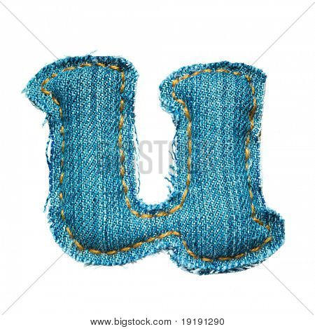 letter of jeans alphabet isolated on white, handmade, lowercase