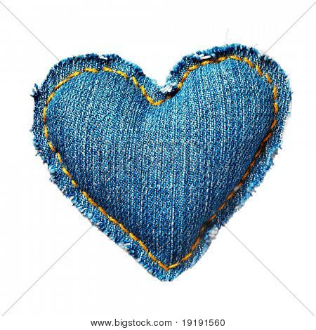 Valentine Jeans Herz. Isolated on White.