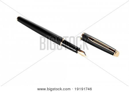 cost gold pen isolated on white