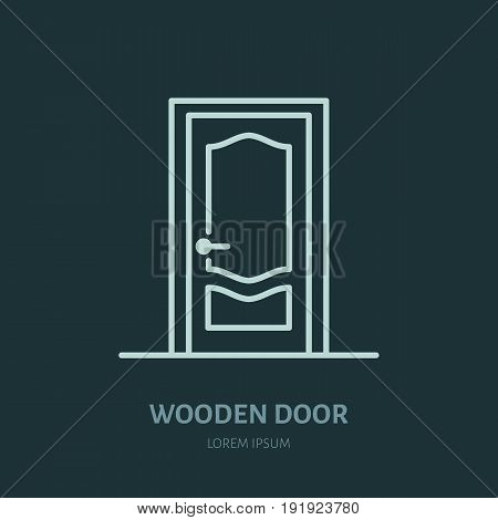 Wooden Doors Installation Logo Repair Flat Line Icon Interior Design Thin Linear Sign For