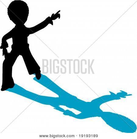silhouette of disco dancer