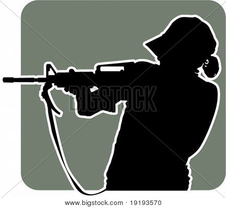 silhouette of woman shooting gun