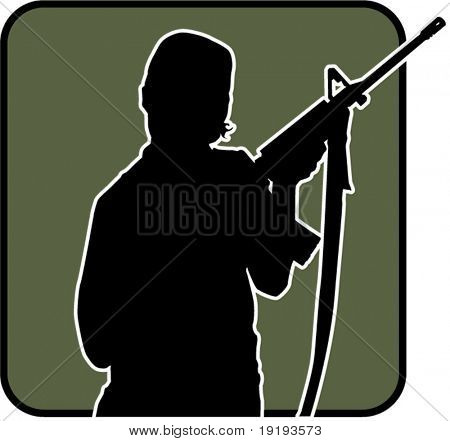 silhouette of woman holding gun