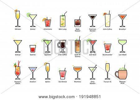 Popular alcoholic cocktails