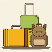 Baggage, Luggage, Suitcases On Background. Flat Style Vector Illustration. poster
