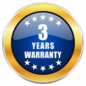 Warranty guarantee 3 year blue web icon with golden chrome metallic border isolated on white backgro poster