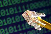 Computer Network Cable Jack Plug and Binary Data