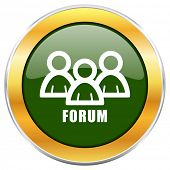 Forum green glossy round icon with golden chrome metallic border isolated on white background for we