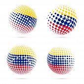Постер, плакат: Venezuela Halftone Flag Set Patriotic Vector Design 3D Halftone Sphere In Venezuela National Flag C
