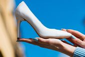 Hand With Glamour Female Shoe White Color Leather poster