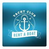 Boat Rental Summer Badge. Typographic Retro Style Label With Blurred Blue Background. Rental Agency poster