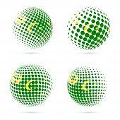 Cocos Islands Halftone Flag Set Patriotic Vector Design. 3D Halftone Sphere In Cocos Islands Nationa poster