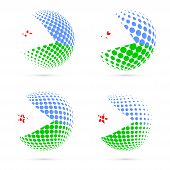 Постер, плакат: Djibouti Halftone Flag Set Patriotic Vector Design 3D Halftone Sphere In Djibouti National Flag Col