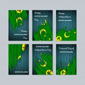 Cocos Islands Patriotic Cards For National Day. Expressive Brush Stroke In National Flag Colors On D poster