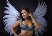 Beautiful Girl In Carnival Costume Wit White Wings. poster
