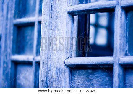 old door with window closeup