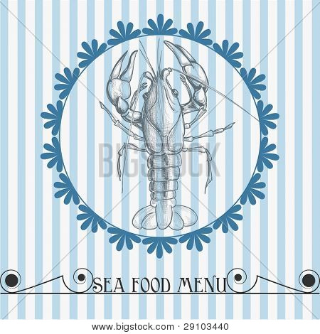 Sea food vector background, lobster drawing