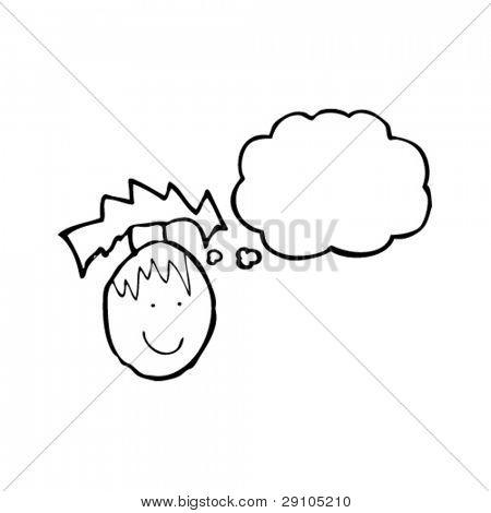 Kinderzeichnung ein glückliches Gesicht mit dachte Blase