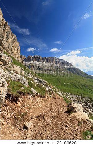 Pordoi Pass And Sella Mountain