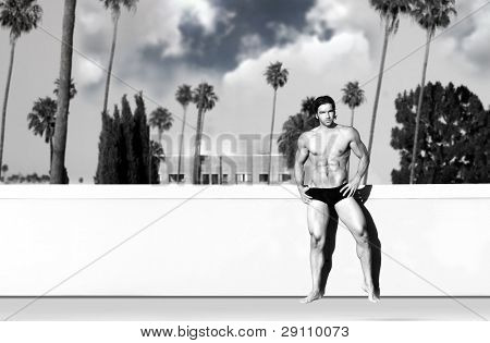 Portrait of a sexy male model in bikini briefs against wall with tropical sky background behind