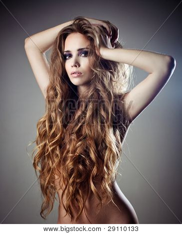 Nude mexican girl with curly hair