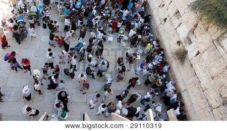 people near wailing wall in Jerusalem