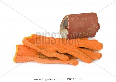 Emery Paper And Gloves On The White Isolated Background