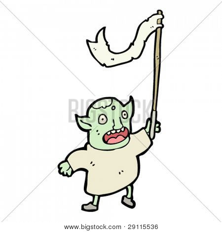 goblin waving flag cartoon