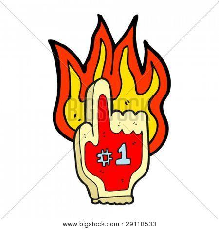 burning foam finger cartoon