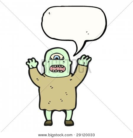monster man with speech bubble