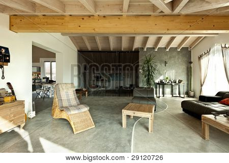 interior new loft, ethnic furniture, living room