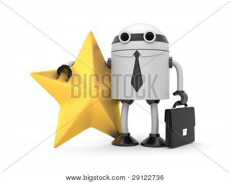 Robot with star. Image contain clipping path