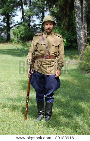 Soviet military uniform at WW2 time. Memory day of War begining. 21 june 2008 near Kiev