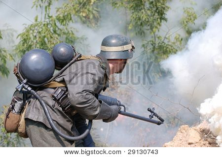 KIEV ,UKRAINE. September 5-6 , 2008. Military history club  Red Star. Historical military reenacting.  Battle for defense line of Stalin.German soldier with flame-thrower.