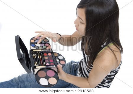 Teenager Applying Makeup
