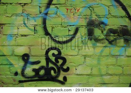Bad district.Vandalism.Graffity on a brick wall. Kiev,Ukraine