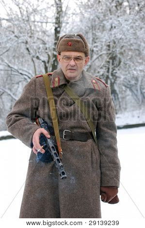 Person in Soviet military uniform of WW2 time. Historical reenacting