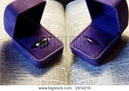 Wedding Rings With Purple Boxes, Bride And Groom
