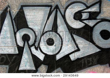 Bad district.Vandalism.Graffiti on a wall. Kiev,Ukraine