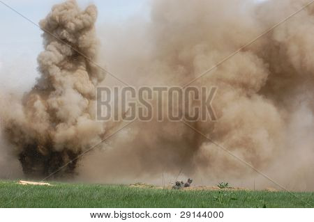 Explosion. WW2 reenacting. Kiev,Ukraine