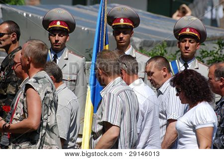 KIEV,UKRAINE- JUNE 21:  Honor Guard. Lost soldiers of WW2 funerals. June 21,2008. Kiev,Ukraine