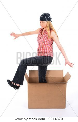 Girl Stepping Out Of The Box